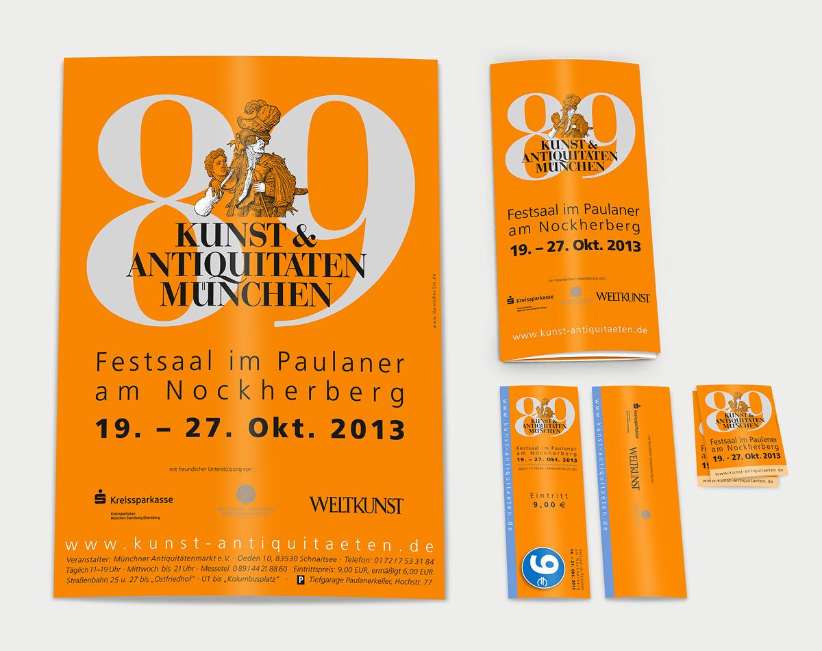 Kunst-Antiquitaeten-Muenchen-Plakat-Eintrittskarten-Folder-Aufkleber