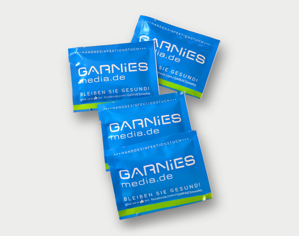 Bild für Angebot Handdesinfektionstücher mit eigenem Branding auf GARNIESmedia.de